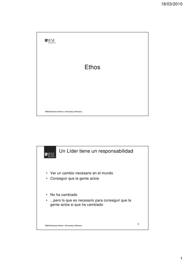18/03/2010                                                    Ethos     IESE Business School - University of Navarra      ...