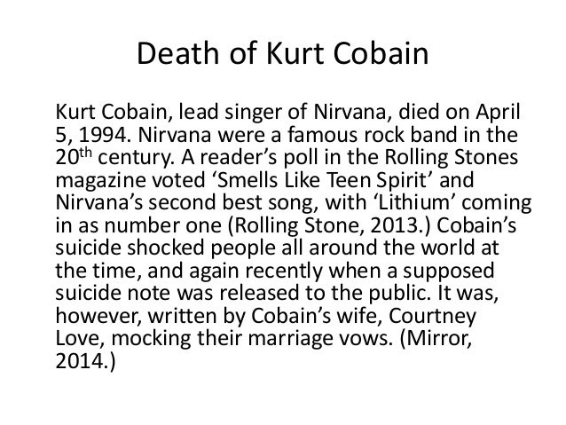 lead singer of nirvana death