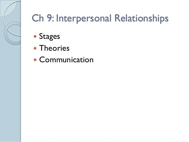 Ch 9: Interpersonal Relationships Stages Theories Communication