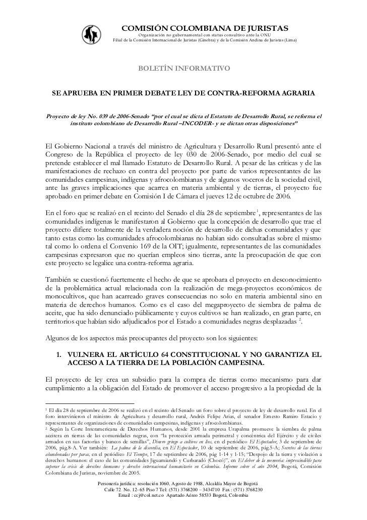 COMISIÓN COLOMBIANA DE JURISTAS                                               Organización no gubernamental con status con...