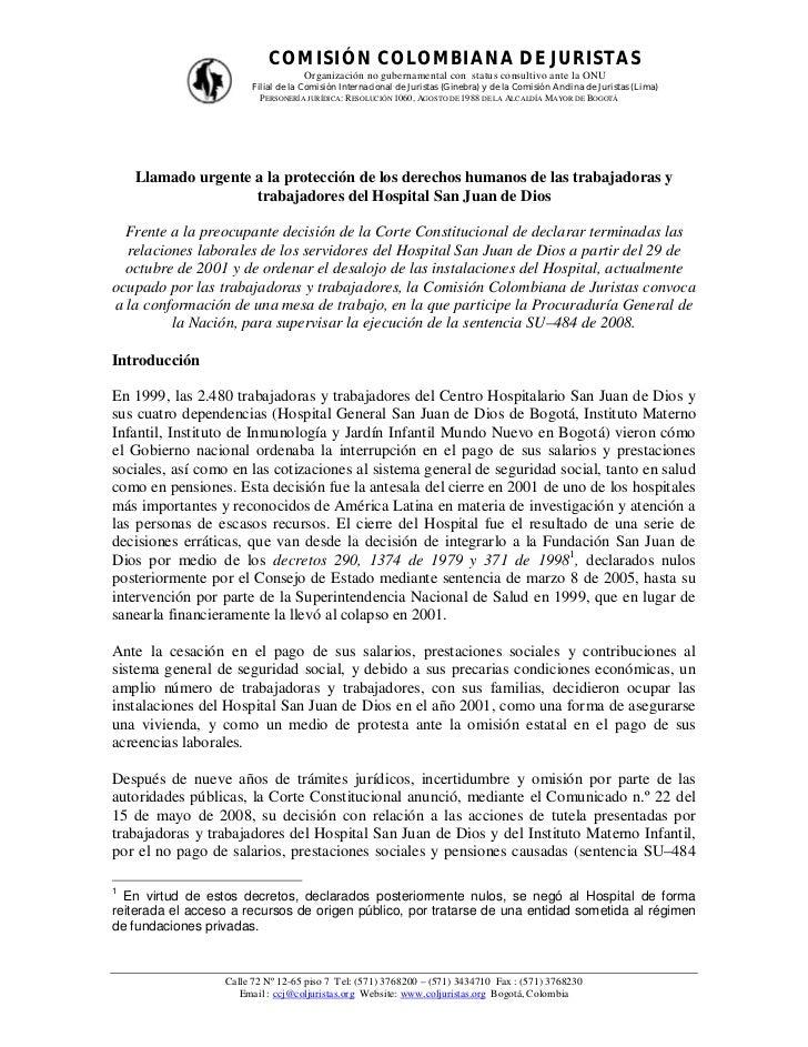 COMISIÓN COLOMBIANA DE JURISTAS                                   Organización no gubernamental con status consultivo ante...