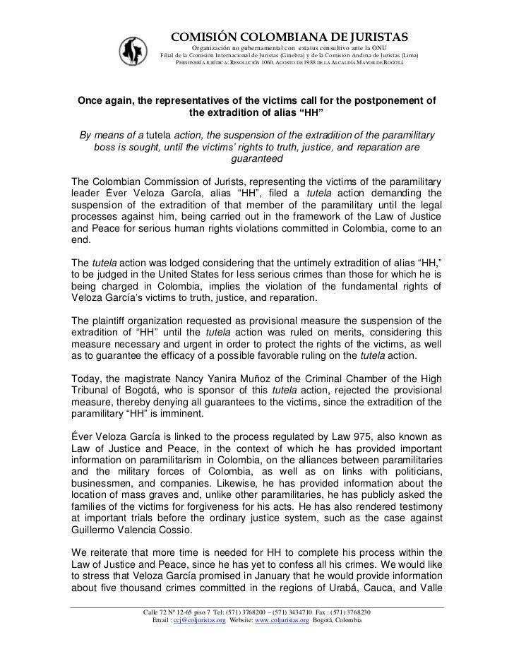 COMISIÓN COLOMBIANA DE JURISTAS                                 Organización no gubernamental con estatus consultivo ante ...
