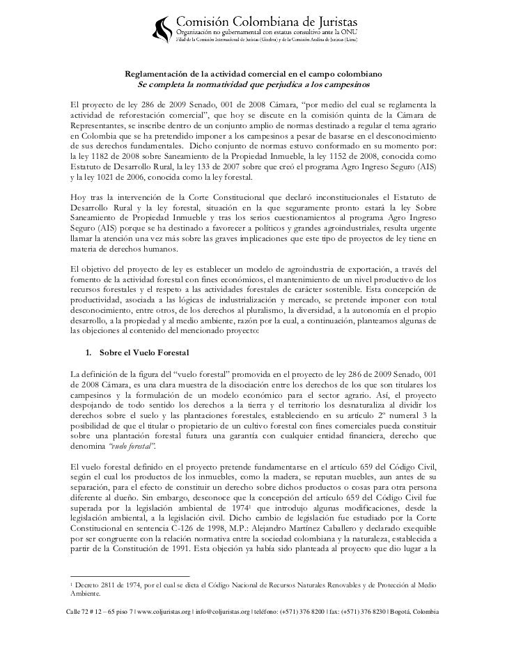 Reglamentación de la actividad comercial en el campo colombiano                          Se completa la normatividad que p...