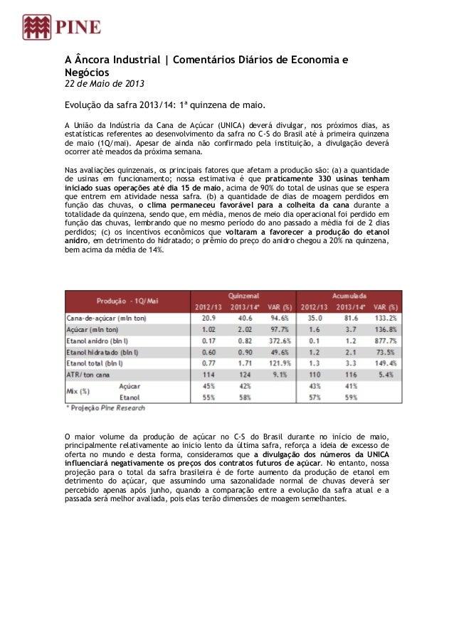 A Âncora Industrial | Comentários Diários de Economia eNegócios22 de Maio de 2013Evolução da safra 2013/14: 1ª quinzena de...