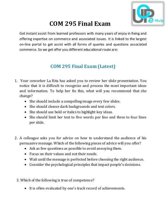 Commerce final exam question booklet