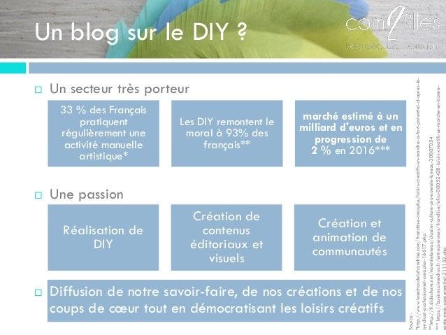 Un blog sur le DIY ?  Un secteur très porteur  Une passion  Diffusion de notre savoir-faire, de nos créations et de nos...
