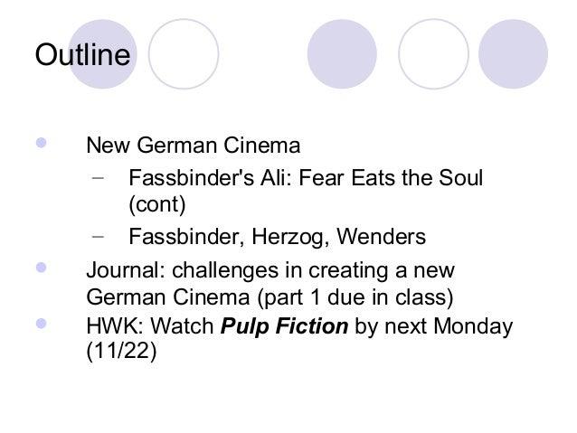 Outline  New German Cinema – Fassbinder's Ali: Fear Eats the Soul (cont) – Fassbinder, Herzog, Wenders  Journal: challen...