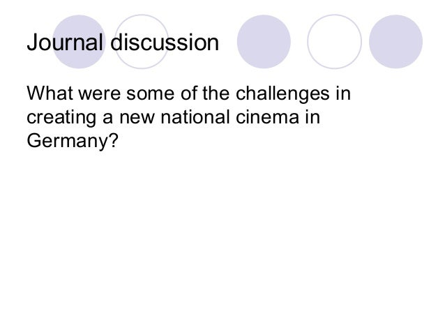 Journal discussion What were some of the challenges in creating a new national cinema in Germany?