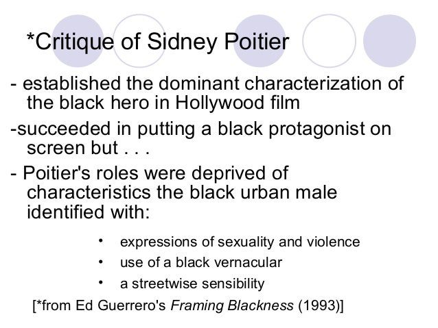 *Critique of Sidney Poitier - established the dominant characterization of the black hero in Hollywood film -succeeded in ...