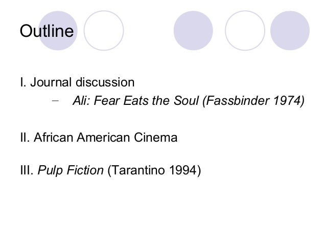 Outline I. Journal discussion – Ali: Fear Eats the Soul (Fassbinder 1974) II. African American Cinema III. Pulp Fiction (T...