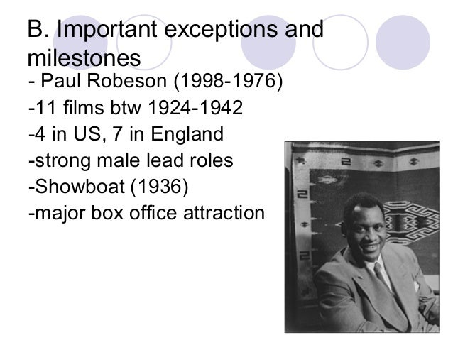 B. Important exceptions and milestones - Paul Robeson (1998-1976) -11 films btw 1924-1942 -4 in US, 7 in England -strong m...