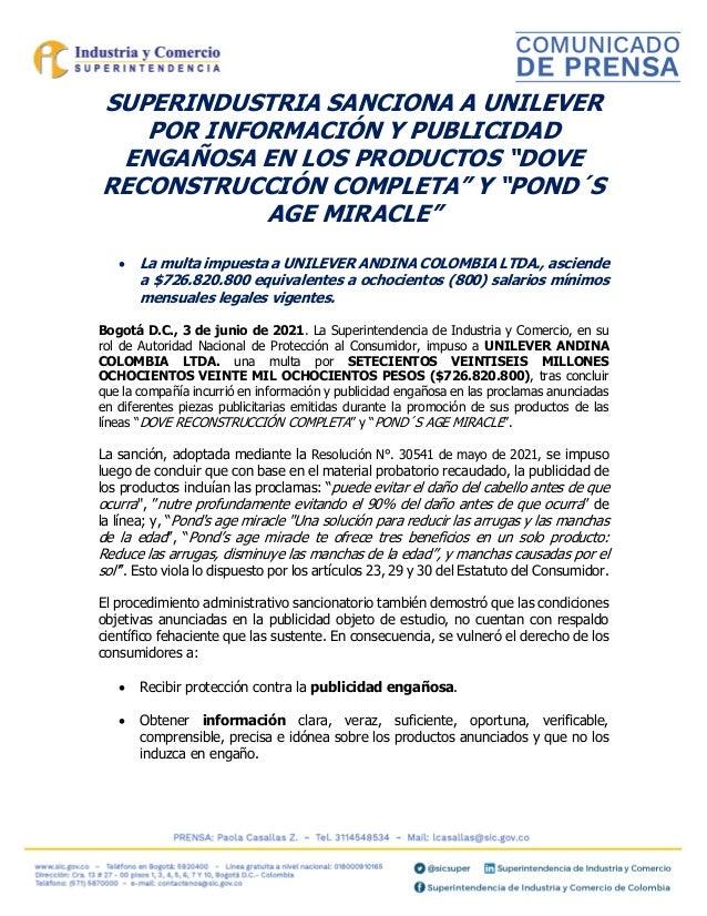 """SUPERINDUSTRIA SANCIONA A UNILEVER POR INFORMACIÓN Y PUBLICIDAD ENGAÑOSA EN LOS PRODUCTOS """"DOVE RECONSTRUCCIÓN COMPLETA"""" Y..."""