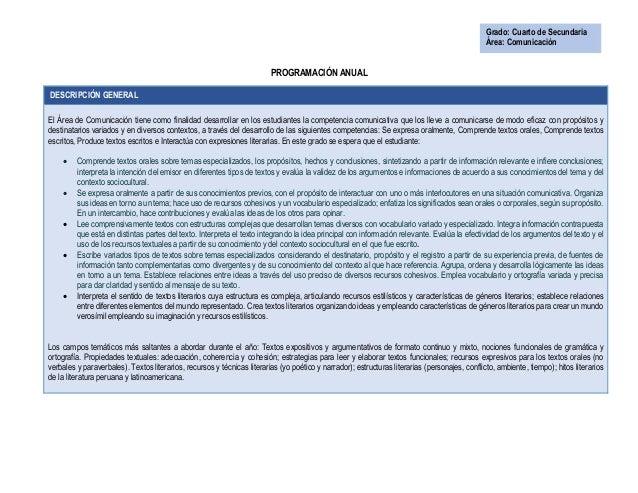 PROGRAMACIÓN ANUAL DESCRIPCIÓN GENERAL El Área de Comunicación tiene como finalidad desarrollar en los estudiantes la comp...