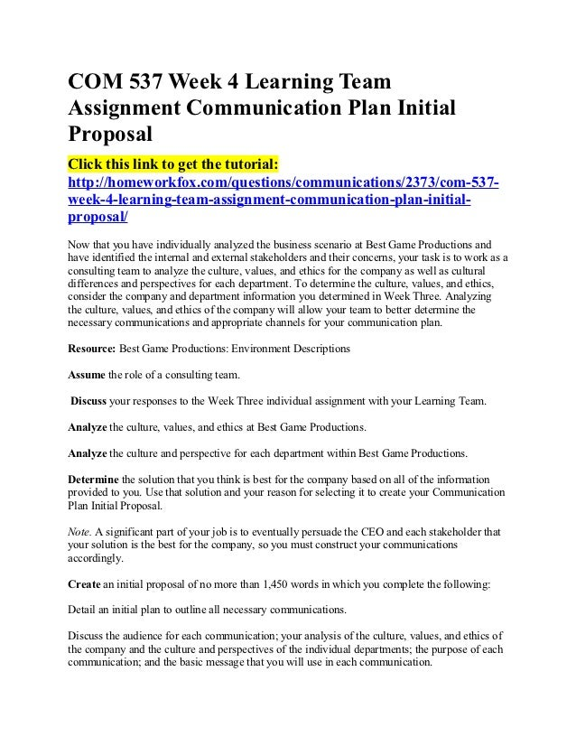 how to write a communication plan proposal