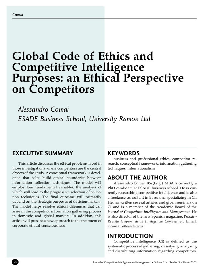 ComaiGlobal Code of Ethics andCompetitive IntelligencePurposes: an Ethical Perspectiveon Competitors     Alessandro Comai ...