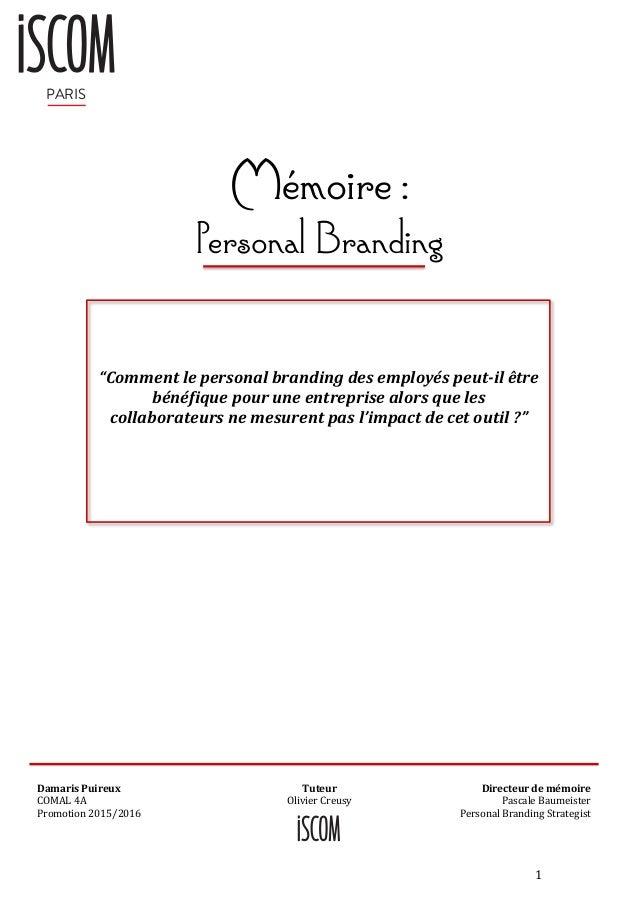 """05b1d3b0e620c4 1 Mémoire   Personal Branding PARIS """"Comment le personal branding des  employés peut-il ..."""