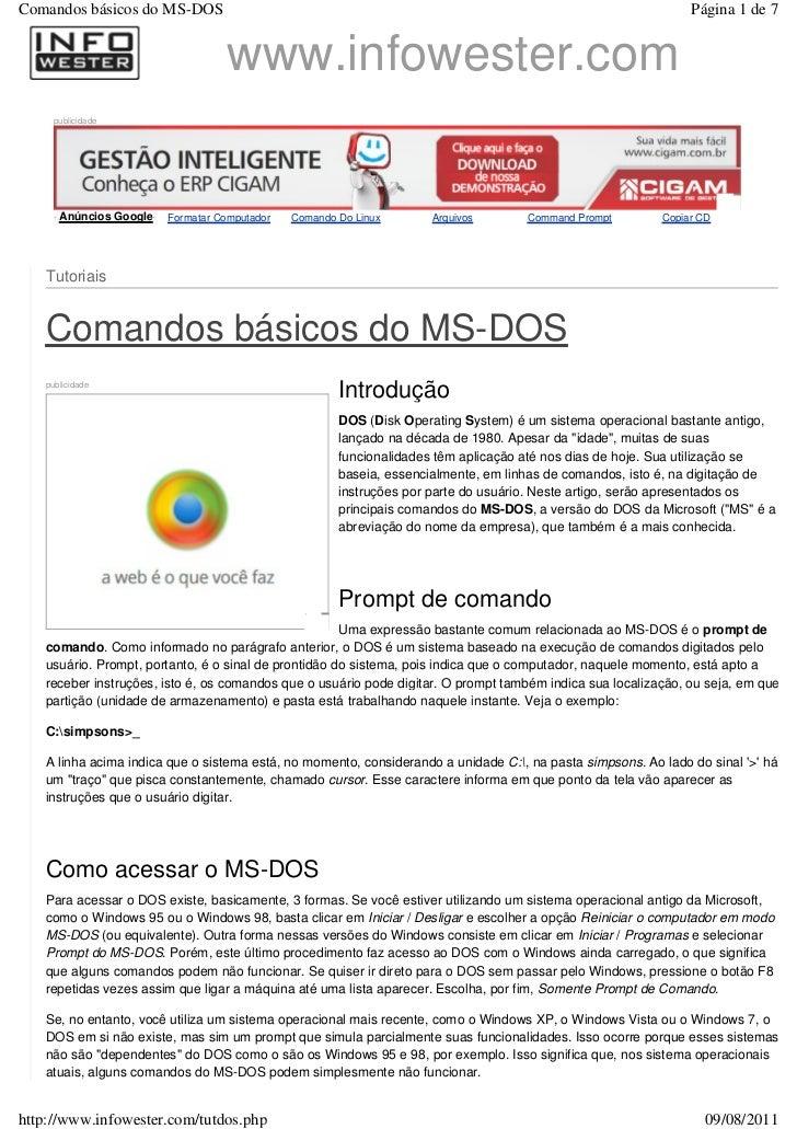 Comandos básicos do MS-DOS                                                                                     Página 1 de...