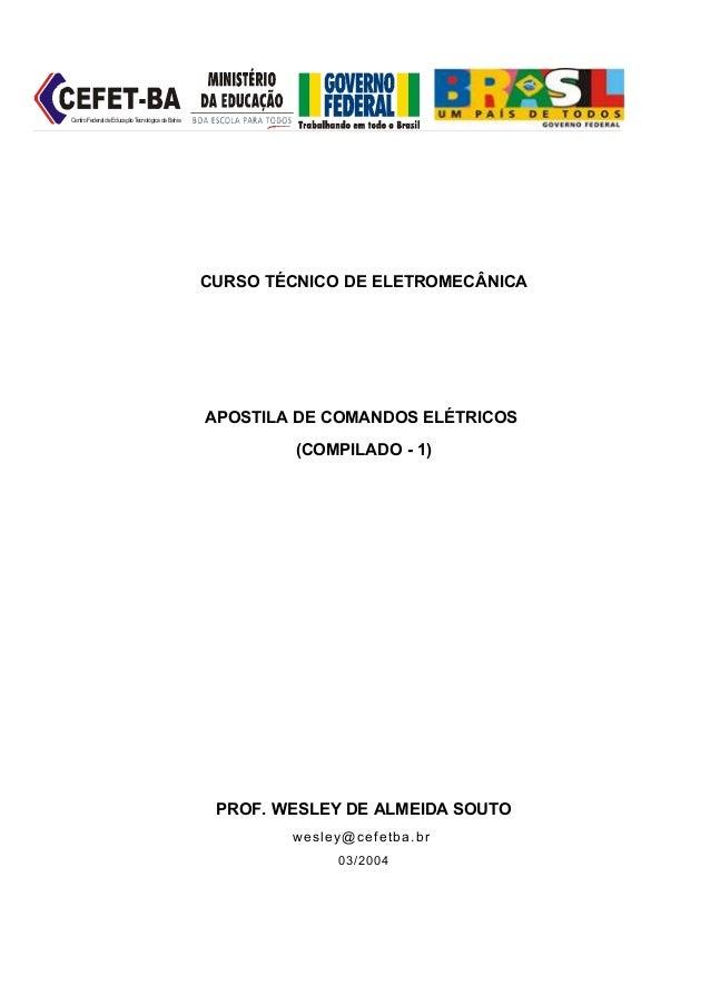 Centro Federal de Educação Tecnológica da Bahia                                                  CURSO TÉCNICO DE ELETROME...