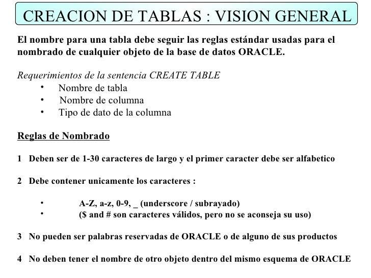 CREACION DE TABLAS : VISION GENERAL El nombre para una tabla debe seguir las reglas estándar usadas para el nombrado de cu...