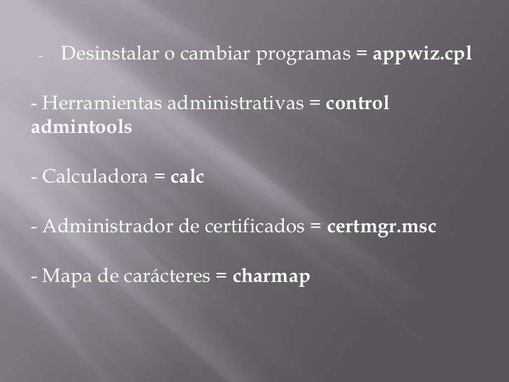 Comandos rápidos de windows 7 Slide 2