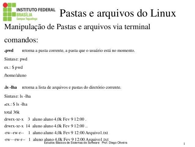 Estudos Básicos de Sistemas de Software Prof. Diego Oliveira 1 Pastas e arquivos do Linux Manipulação de Pastas e arquivos...