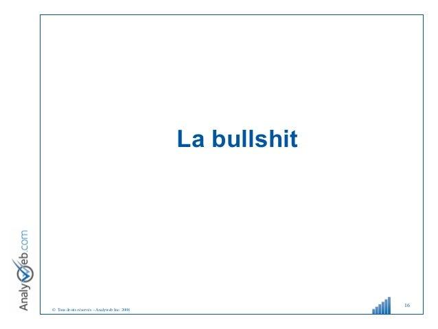 © Tous droits réservés – Analyweb Inc. 2008 La bullshit 16