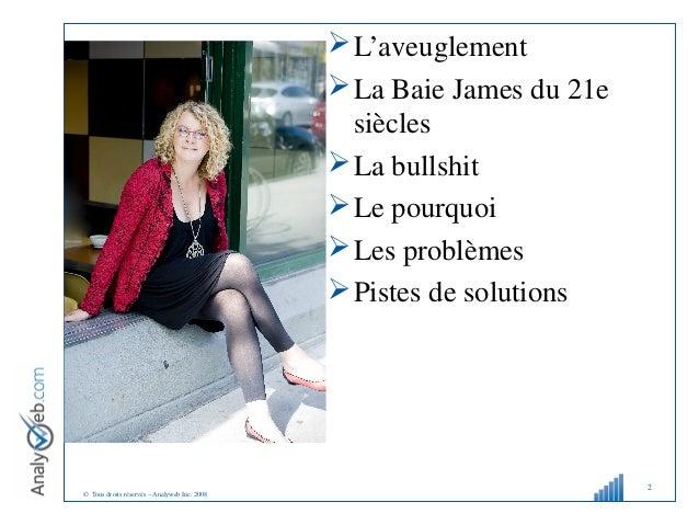© Tous droits réservés – Analyweb Inc. 2008 L'aveuglement La Baie James du 21e siècles La bullshit Le pourquoi Les pr...