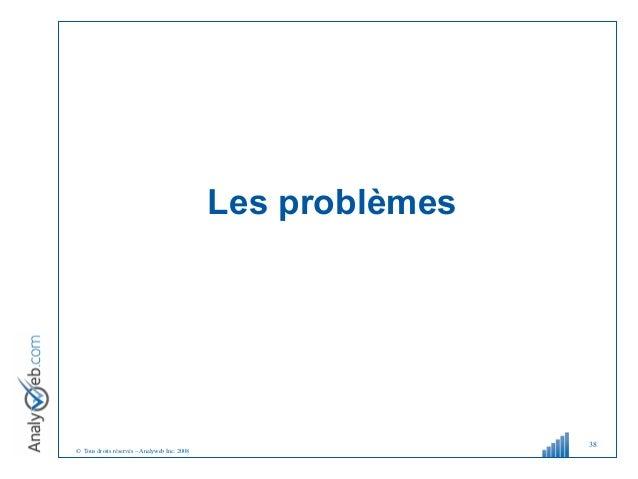 © Tous droits réservés – Analyweb Inc. 2008 Les problèmes 38