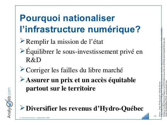 © Tous droits réservés – Analyweb Inc. 2008 Pourquoi nationaliser l'infrastructure numérique? Remplir la mission de l'éta...