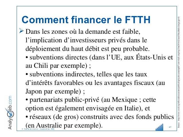 © Tous droits réservés – Analyweb Inc. 2008 Comment financer le FTTH  Dans les zones où la demande est faible, l'implicat...