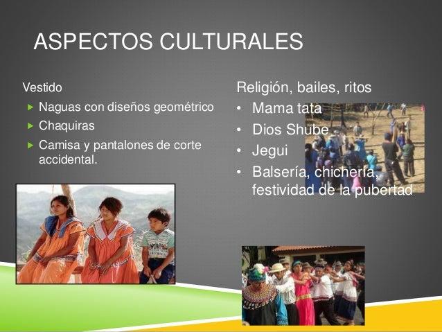 ASPECTOS CULTURALES Vestido  Naguas con diseños geométrico  Chaquiras  Camisa y pantalones de corte accidental. Religió...