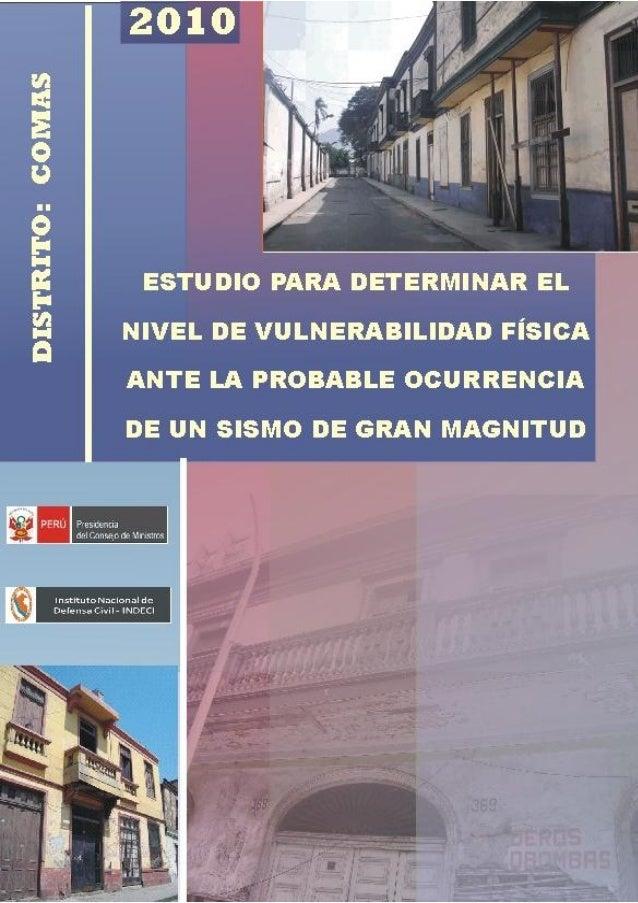 Plan de Prevención por Sismo 2010 - Distrito de Comas                                     ÍNDICEPRESENTACIÓNANTECEDENTESI....