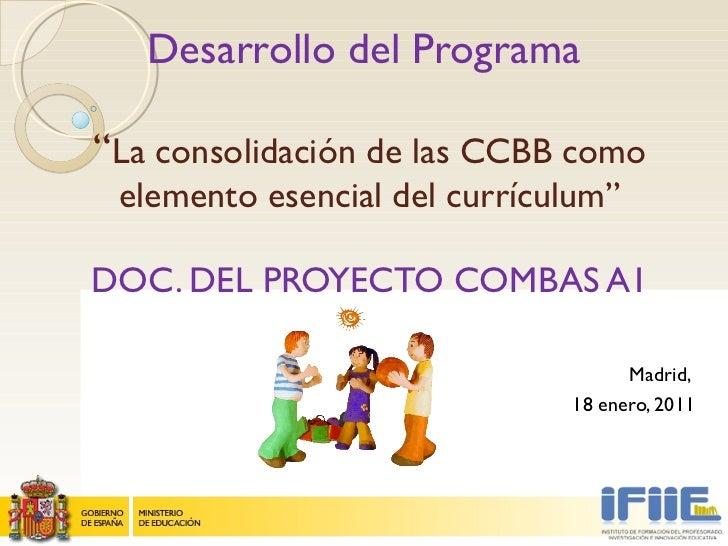 """Desarrollo del Programa  """" La consolidación de las CCBB como elemento esencial del currículum """" DOC. DEL PROYECTO COMBAS A..."""