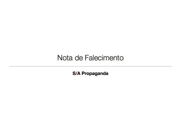 S/A Propaganda - Nota de Falecimento