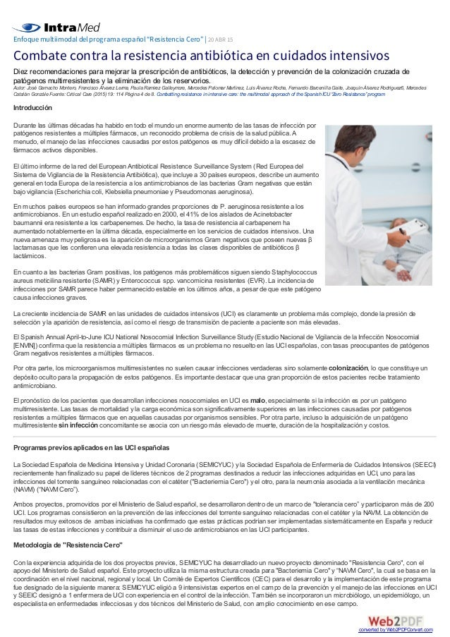Combate contra la resistencia antibiótica en cuidados intensivos
