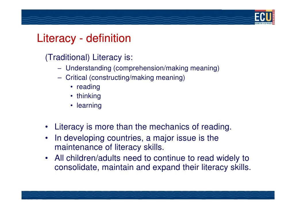 an analysis of the traditional and modern definitions of the term literacy Definitions and characteristics of modernity : since the term modern is used to describe a wide range of periods,  mass literacy .