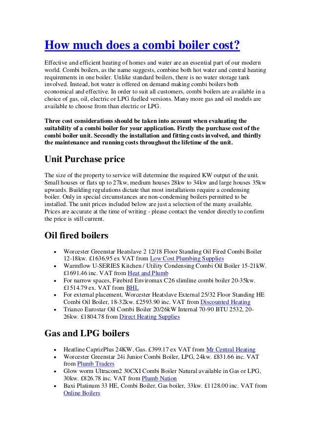 Combi boiler cost guide
