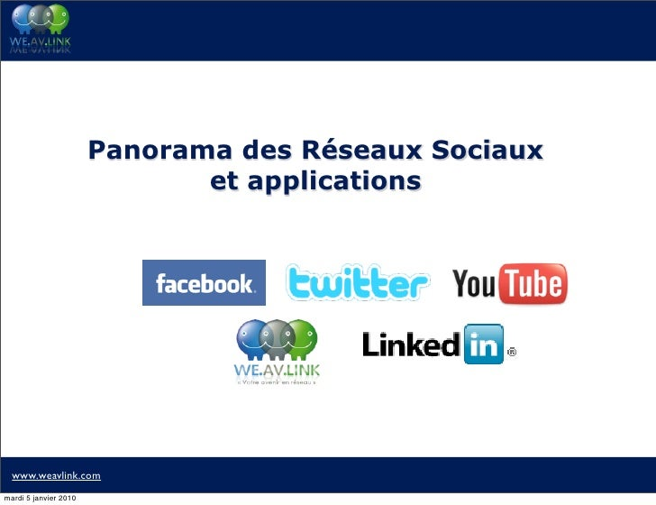 Panorama des Réseaux Sociaux                               et applications       www.weavlink.com mardi 5 janvier 2010