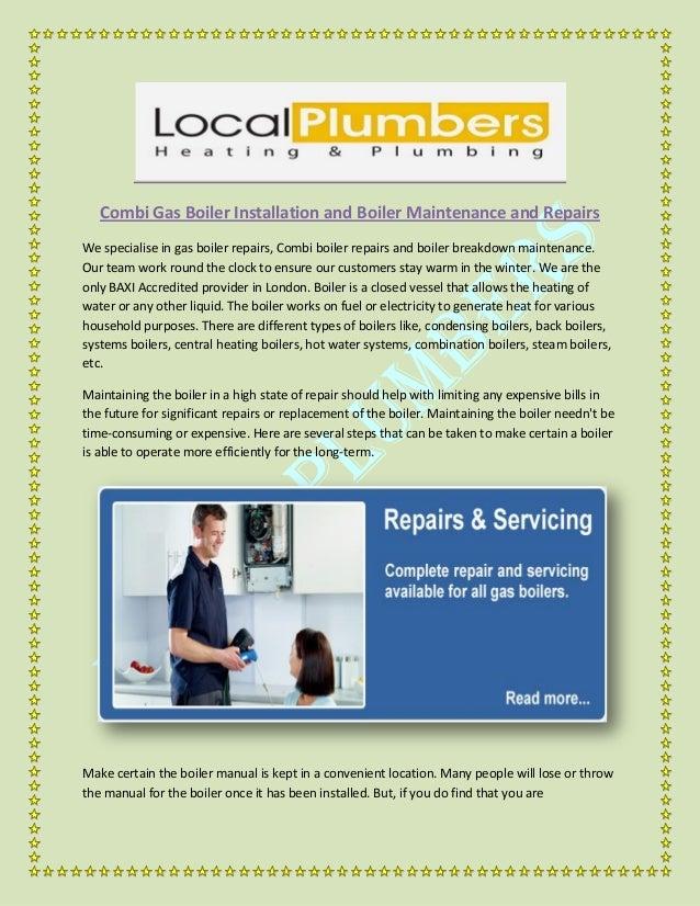 Combi Gas Boiler Installation and Boiler Maintenance and Repairs