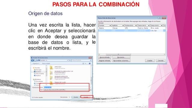 combinacion de correspondencia en word 2013