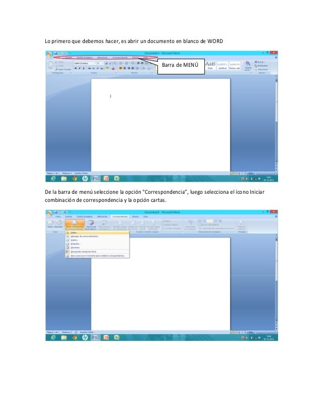 Lo primero que debemos hacer, es abrir un documento en blanco de WORD  Barra de MENÚ  De la barra de menú seleccione la op...
