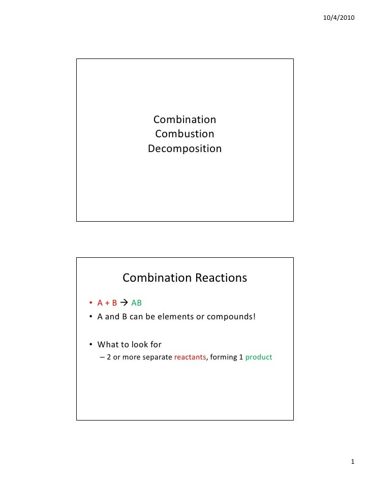 10/4/2010                     Combination                 Combustion                Decomposition             Combination ...