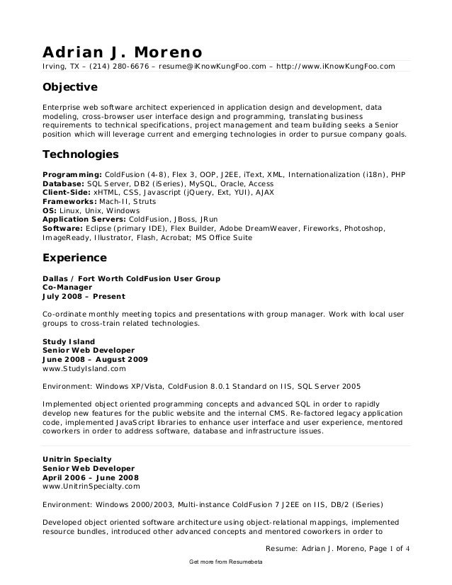 Captivating Combination Executive Application Developer Resume. Resume: Adrian J.  Moreno, Page 1 Of 4 Adrian J. Moreno Irving ...  Application Developer Resume