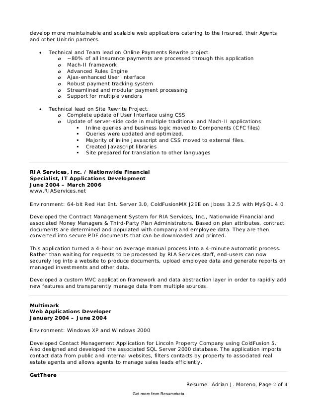 Awesome Resume: ... Pertaining To Application Developer Resume