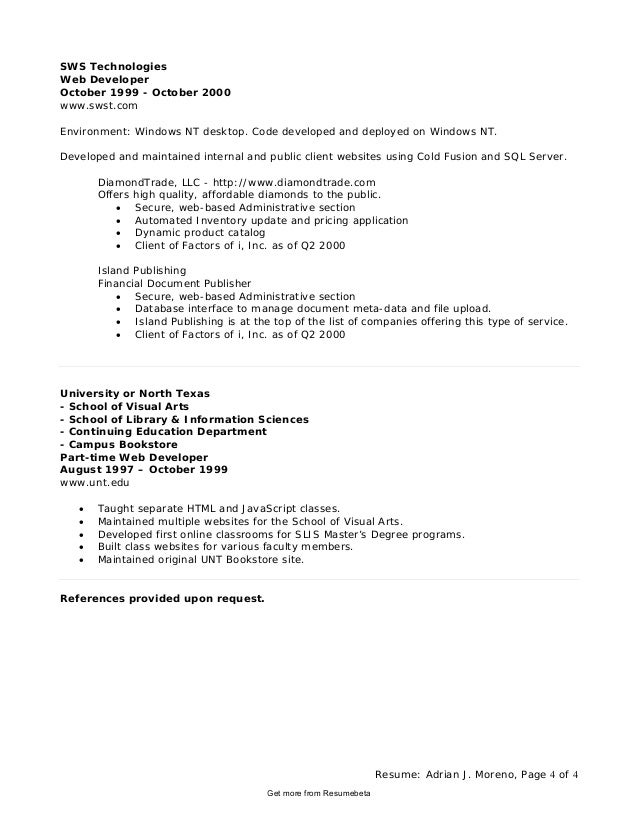Resume: ...  Application Developer Resume