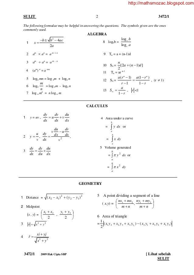 Contoh kertas percubaan matematik tambahan spm