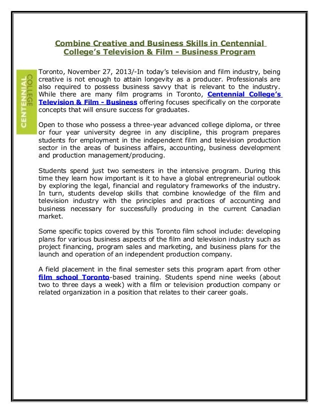 Combine Creative and Business Skills in Centennial College's Television & Film - Business Program Toronto, November 27, 20...
