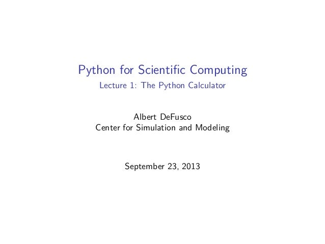 Python for Scientific Computing