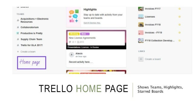 TRELLO HOME PAGE Shows Teams, Highlights, Starred Boards