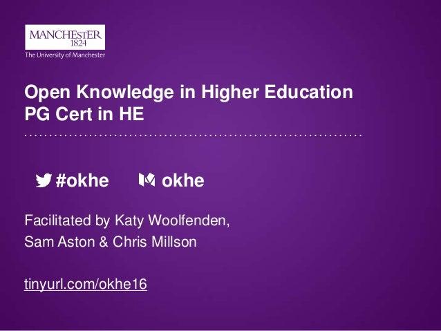 Open Knowledge in Higher Education PG Cert in HE #okhe okhe Facilitated by Katy Woolfenden, Sam Aston & Chris Millson tiny...